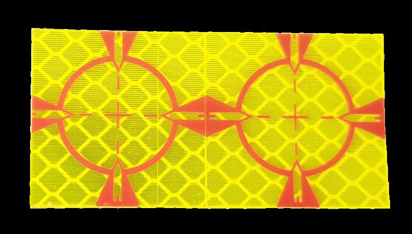Meetstickers geel 30 x 30 mm.